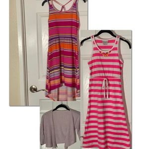 3Pack: 2 Girl's Maxi Dresses  + 1 Girl's Cardigan